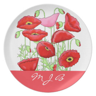 Red Pink Poppies Art Custom Monogram Personalized Plate