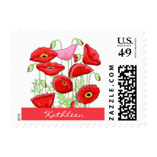 Red Pink Poppies Art Custom Monogram Personalized Stamps