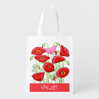 Red Pink Poppies Art Custom Monogram Personalized Reusable Grocery Bag