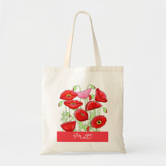Red Pink Poppies Art Custom Monogram Personalized Tote Bag