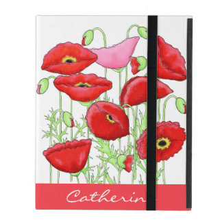 Red Pink Poppies Art Custom Name Monogram iPad Case