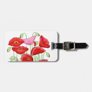 Red Pink Poppies Art Custom Name Personalized Bag Tag