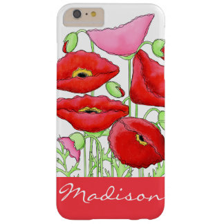 Red Pink Poppies Art Custom Name Personalized Barely There iPhone 6 Plus Case