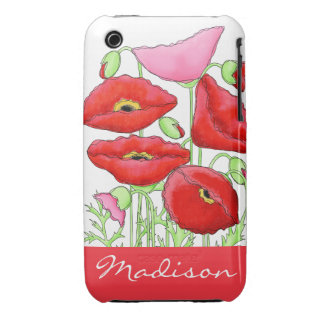 Red Pink Poppies Art Custom Name Personalized iPhone 3 Cover