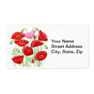 Red Pink Poppies Art Custom Name Personalized Label