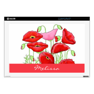 "Red Pink Poppies Art Custom Name Personalized Skin For 17"" Laptop"