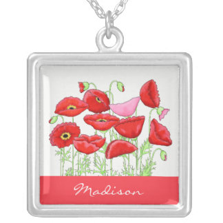 Red Pink Poppies Art Custom Name Personalized Square Pendant Necklace