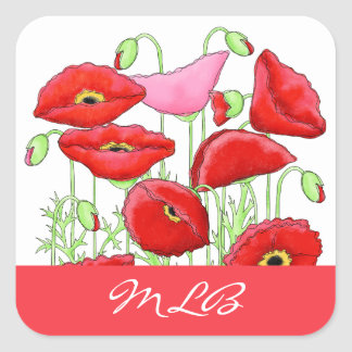 Red Pink Poppies Art Custom Name Personalized Square Sticker