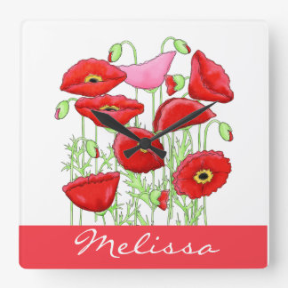 Red Pink Poppies Art Custom Name Personalized Square Wall Clock
