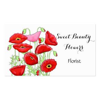 Red Pink Poppies Flowers Art Custom Florist Business Card