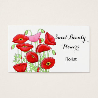 Red Pink Poppies Flowers Art Custom Florist Business Card