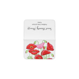 Red Pink Poppies Flowers Art Custom Florist Business Card Holder