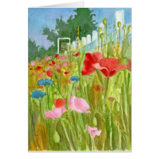 Red Pink Poppies Watercolor Flowers Blank Card