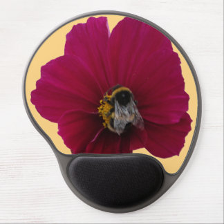 Red Pink poppy Flower with a Bee Gel Mousepad