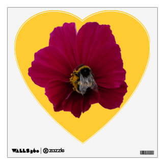 Red Pink poppy Flower with a Bee Heart Wall Decal