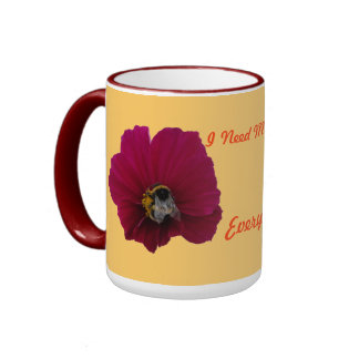 Red Pink poppy Flower with a Bumble Bee Coffee Mug