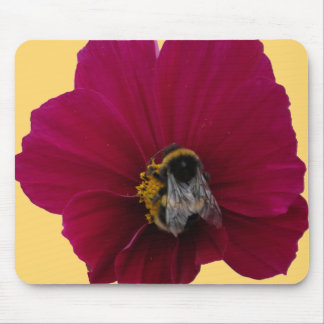 Red Pink poppy Flower with a Bumble Bee Mousepad