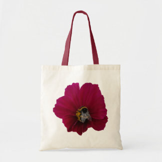 Red Pink poppy Flower with a Bumble Bee Tote Bag