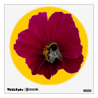 Red Pink poppy Flower with a Bumble Bee Wall Decal