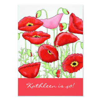 Red Pink Poppy Flowers 40th Birthday Party Invite