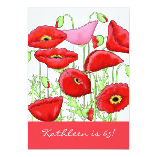 Red Pink Poppy Flowers 65th Birthday Party Invite