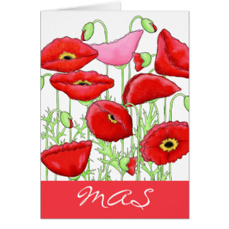 Red Pink Poppy Flowers Monogram Initials Notes Stationery Note Card