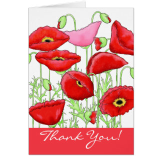 Red Pink Poppy Flowers Thank You Notes Stationery Note Card