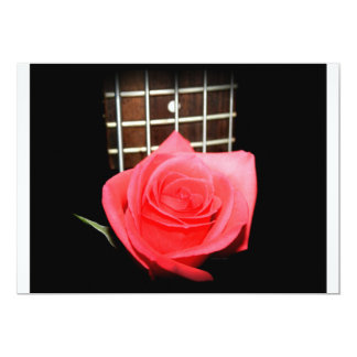 Red pink rose against five string bass fret board 5x7 paper invitation card