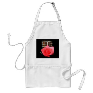 Red pink rose against five string bass fret board adult apron