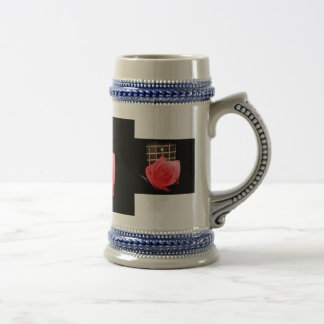 Red pink rose against five string bass fret board beer stein