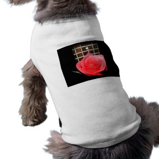 Red pink rose against five string bass fret board doggie tshirt