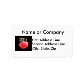Red pink rose against five string bass fret board personalized address label