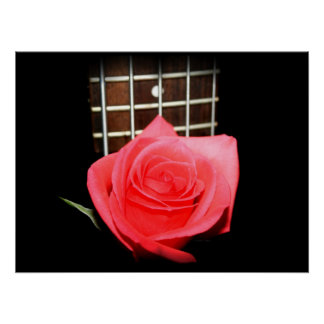 Red pink rose against five string bass fret board poster