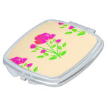 Red pink rose floral compact mirror