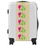 Red pink rose floral luggage
