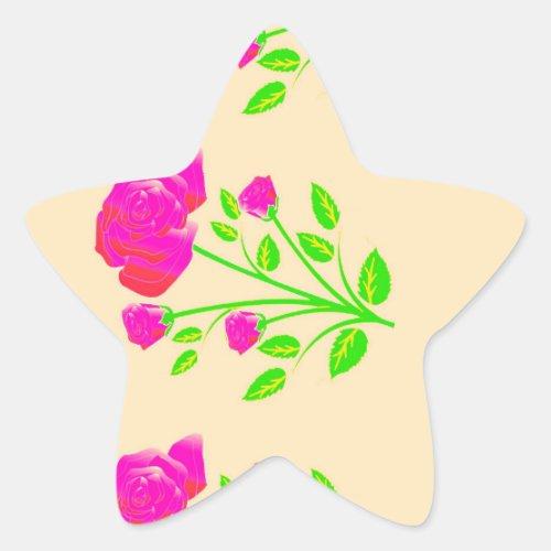 Red pink rose floral star sticker