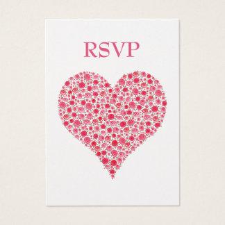 Red Pink Rose Heart Garden Wedding RSVP Cards
