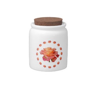 red pink Rose ornament Candy Jar