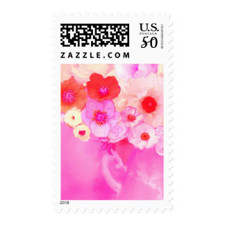 RED PINK ROSES AND ANEMONE FLOWERS POSTAGE