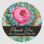 RED PINK ROSES AND BLUE FLOWERS  Thank You Stickers