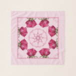"""Red Pink Roses Hearts Chiffon Scarf<br><div class=""""desc"""">Red to Pink Roses with Pink Hearts on Pastel Pink Background Chiffon Scarf</div>"""