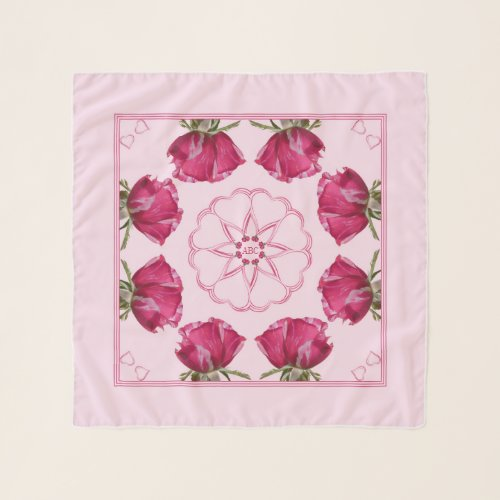 Red Pink Roses Hearts Chiffon Scarf