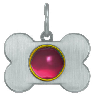 RED PINK RUBY GEM STONE PET NAME TAG