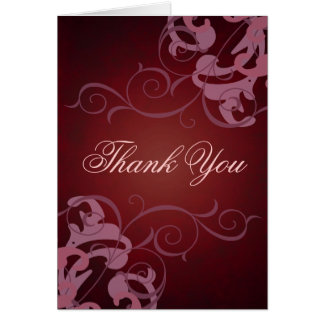 Red & Pink Scroll Thank You Card