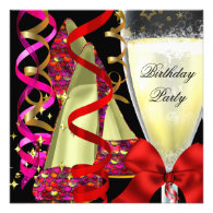 Red Pink Shoes Sequins Birthday Party Custom Announcements