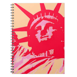 Red Pink Silhouette Lady Liberty Pop Art Notebook