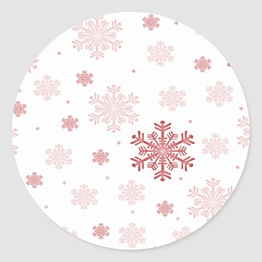 Red/Pink Snowflakes - Winter Stickers