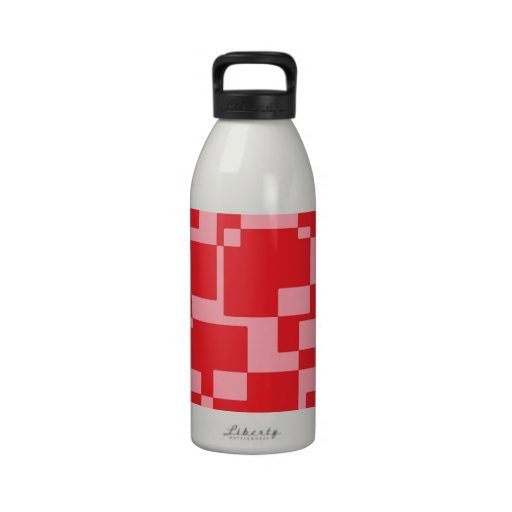 Red-pink squares water bottle