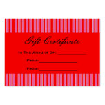 red pink striped Gift Certificate Business Card
