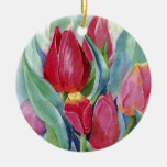 Red & Pink Tulips Christmas Ornament